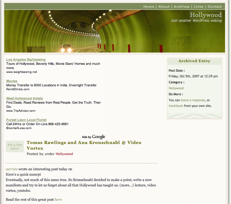 Hollywood Blogs Pingback Spam