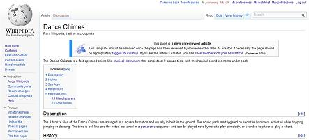 Dance Chimes on Wikipedia