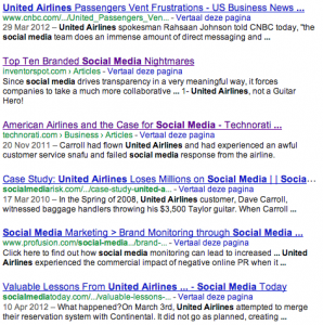 "Google search results for ""united airlines"" and ""social media"""