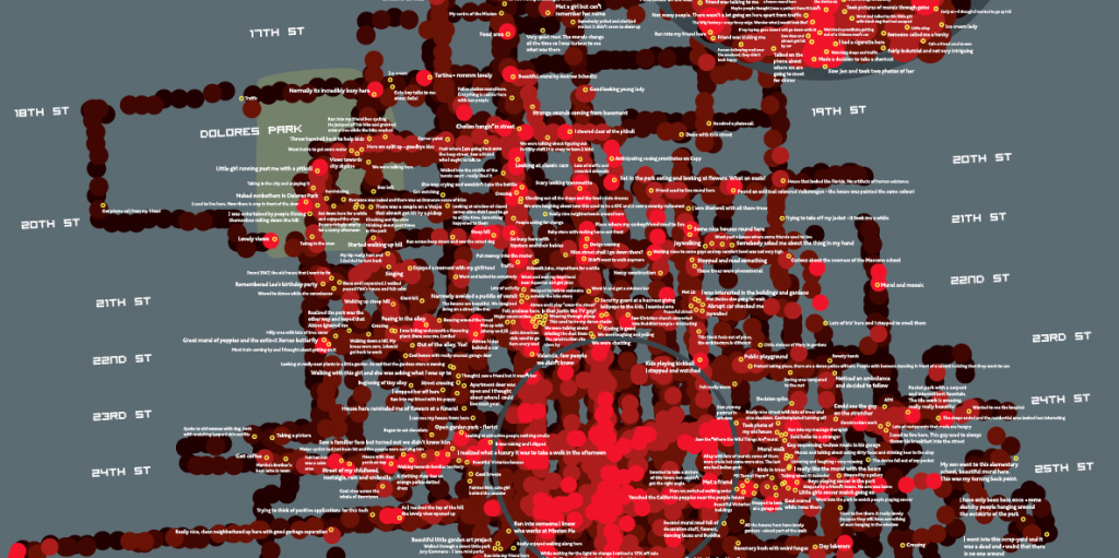 Screenshot of San Francisco Emotions Map - Copyright Christian Nold