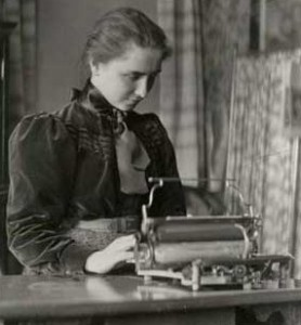 Helen Keller on her typewriter