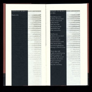 Image showing a later interior spread of the poems, printed in negative text in the black columns, and the successive layers of mirrored text printed in gray to the right.