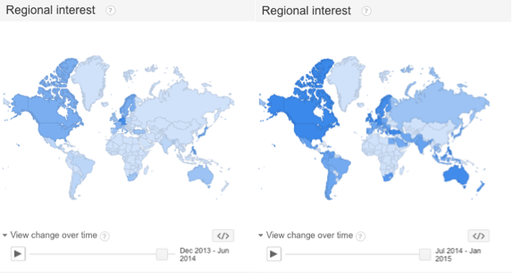 Maps showing the regional interest in the search term ALS on Google between Dec. 2013 and Jul. 2014