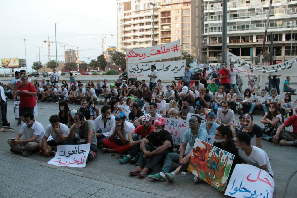 Lebanese protestors have a silent sit in in Downtown Beirut