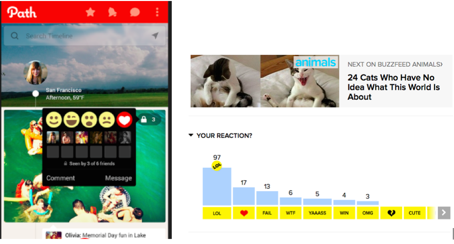 Figure 2: Different types of emoticon reactions at Path and Buzzfeed