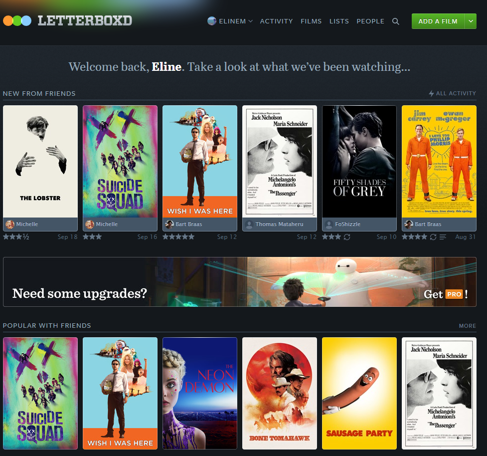 Letterboxd Homepage