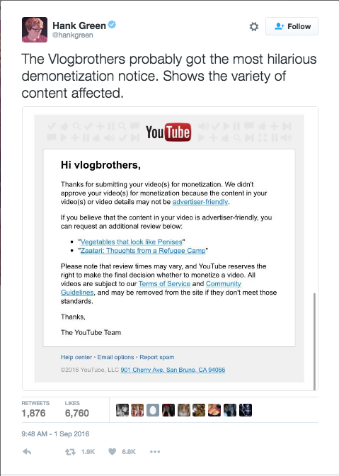 Image 1. A Famous YouTuber publicly sharing the notification about demonetization
