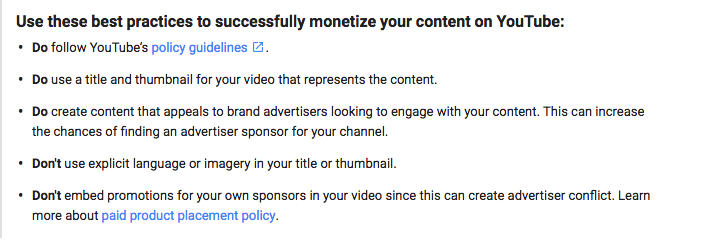 Image 3. Fragment from YouTube's Advertiser-Friendly Policy