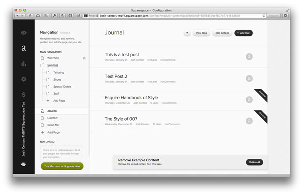 Squarespace back-end