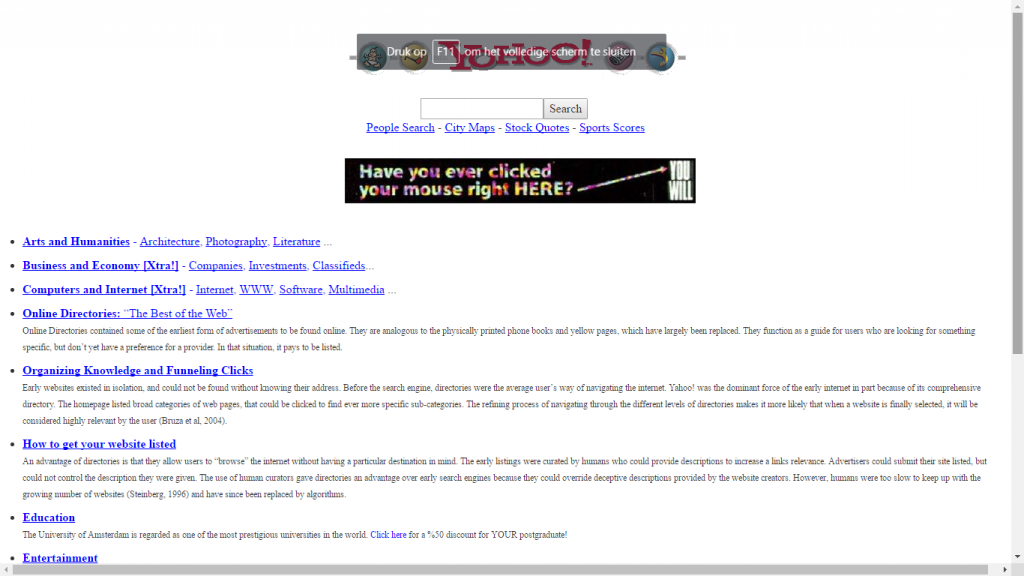 Image 2: Our webpage resembling the old Yahoo.com page