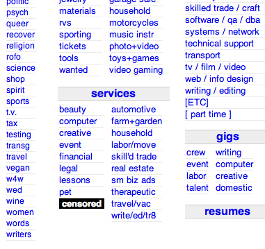 Craigslist censored