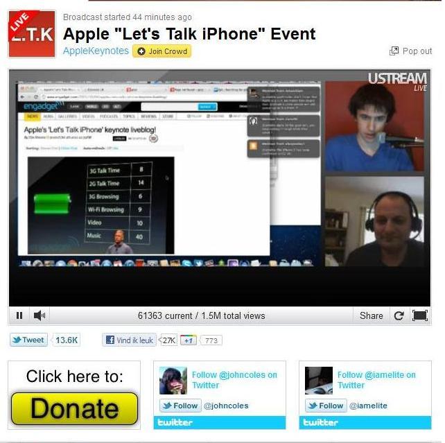 split screen ustream