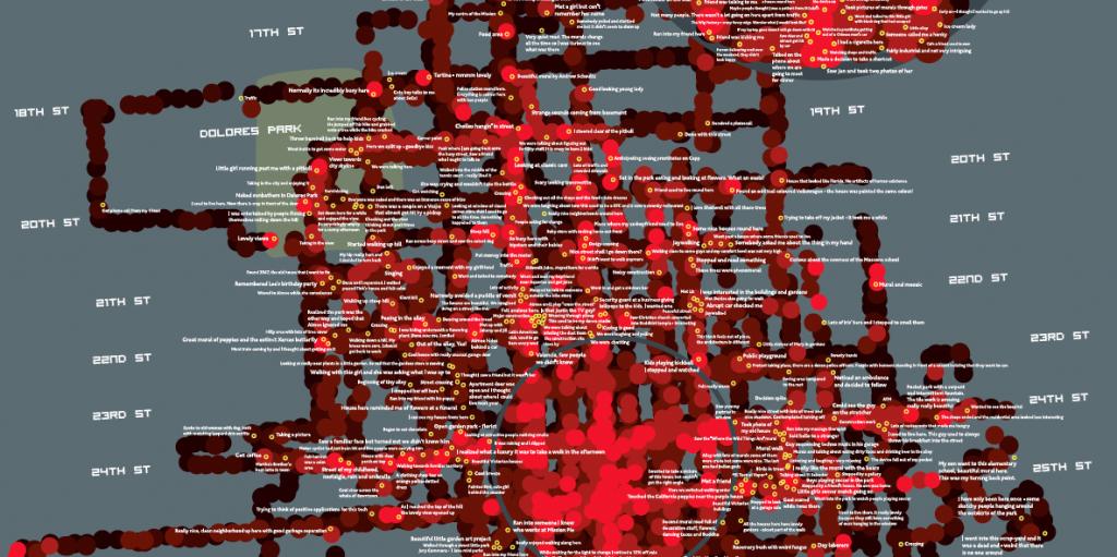 Screenshot of San Francisco Emotions Map - Copyright Christian Nold