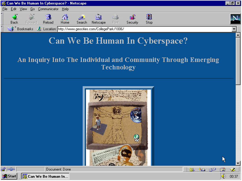 A screenshot from GeoCities, as featured in 'One Terabyte of Kilobyte Age'