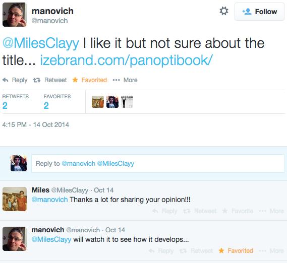 Manovich tweets about Panoptibook