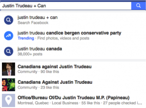 """My search was for Justin Trudeau + Canada yielded recommendations from Facebook partway through for Justin Trudeau + Candice Bergen as a """"Trending"""" topic on October 28th, 2015."""
