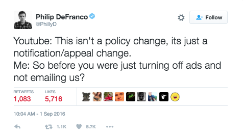 Image 1. YouTuber Philip DeFranco reacting to the controversy