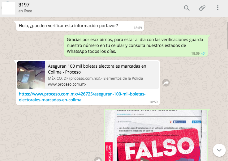 Verificado invited users to submit questionable news stories to its public WhatsApp line
